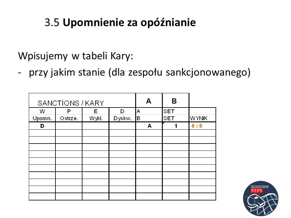Wpisujemy w tabeli Kary: -przy jakim stanie (dla zespołu sankcjonowanego) AB 3.5 Upomnienie za opóźnianie