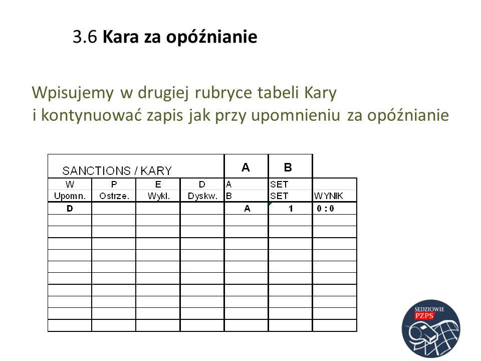 3.6 Kara za opóźnianie Wpisujemy w drugiej rubryce tabeli Kary i kontynuować zapis jak przy upomnieniu za opóźnianie AB