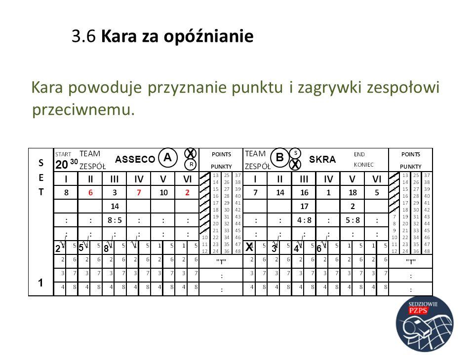 ASSECOSKRA AB RR SS 20 30 23 5 486 Kara powoduje przyznanie punktu i zagrywki zespołowi przeciwnemu. 3.6 Kara za opóźnianie X X X