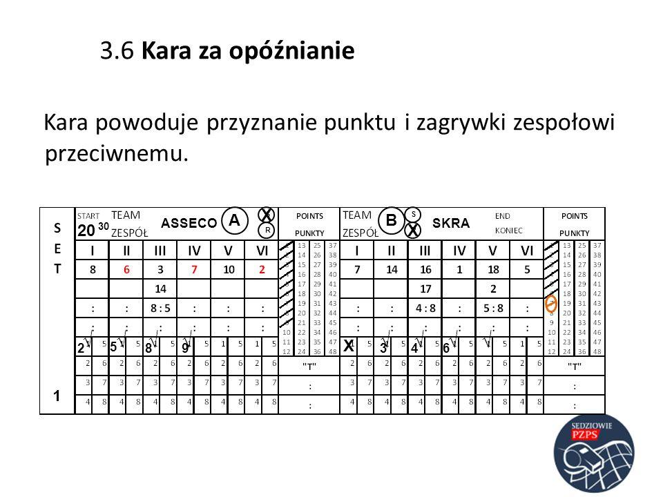 ASSECOSKRA AB RR SS 20 30 23 5 486 Kara powoduje przyznanie punktu i zagrywki zespołowi przeciwnemu. 9 3.6 Kara za opóźnianie X X X