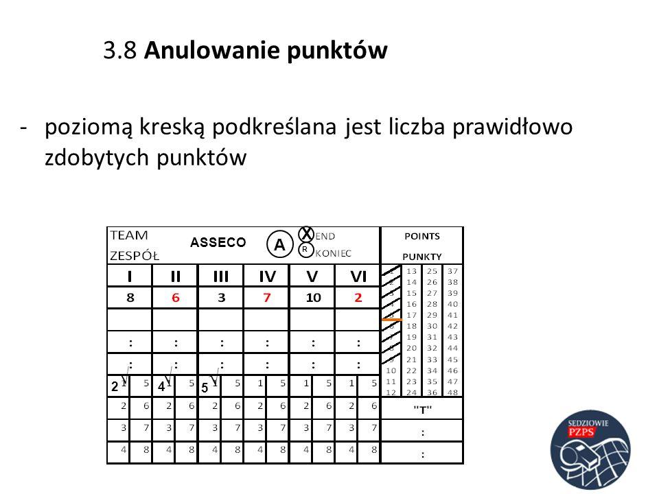 ASSECO A R 2 4 -poziomą kreską podkreślana jest liczba prawidłowo zdobytych punktów 5 3.8 Anulowanie punktów X