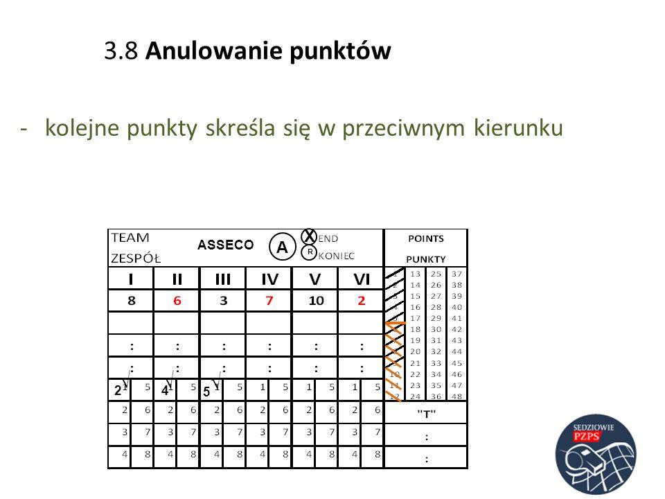 ASSECO A R 2 4 -kolejne punkty skreśla się w przeciwnym kierunku 5 3.8 Anulowanie punktów X