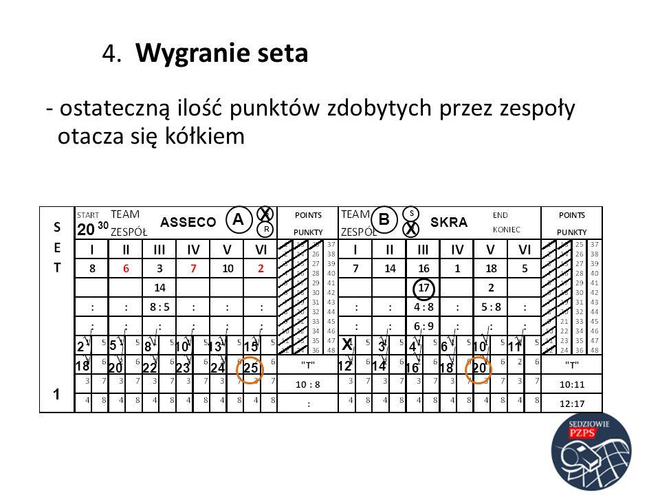 ASSECOSKRA AB RR SS 20 30 23 5 486 4. Wygranie seta - ostateczną ilość punktów zdobytych przez zespoły otacza się kółkiem 10 1113 141812 15 2523221620