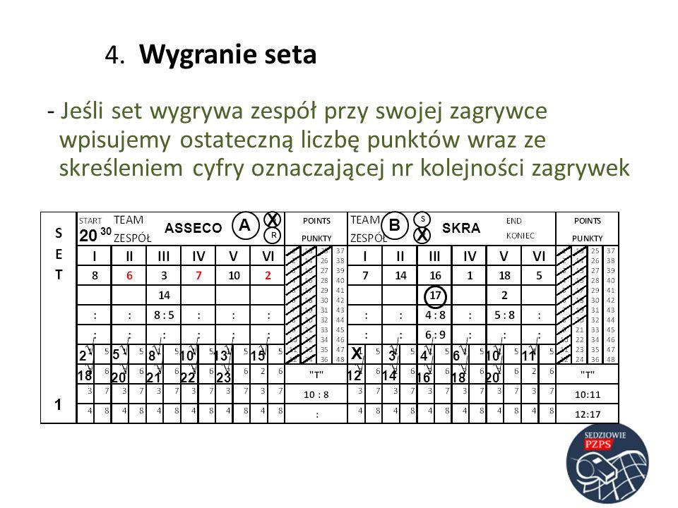 ASSECOSKRA AB RR SS 20 30 23 5 486 4. Wygranie seta - Jeśli set wygrywa zespół przy swojej zagrywce wpisujemy ostateczną liczbę punktów wraz ze skreśl