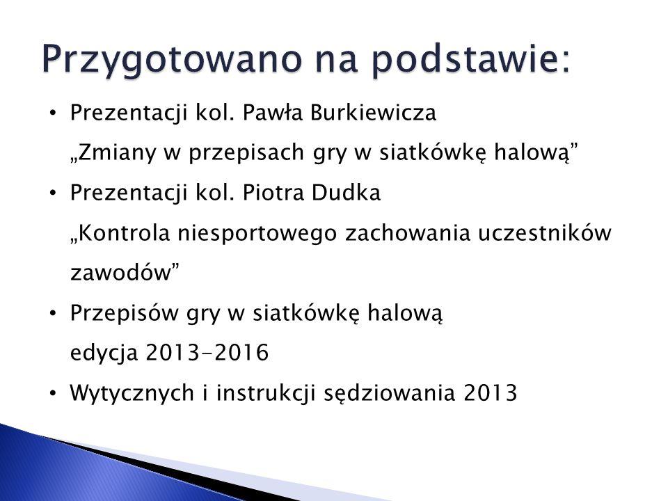 Prezentacji kol. Pawła Burkiewicza Zmiany w przepisach gry w siatkówkę halową Prezentacji kol.