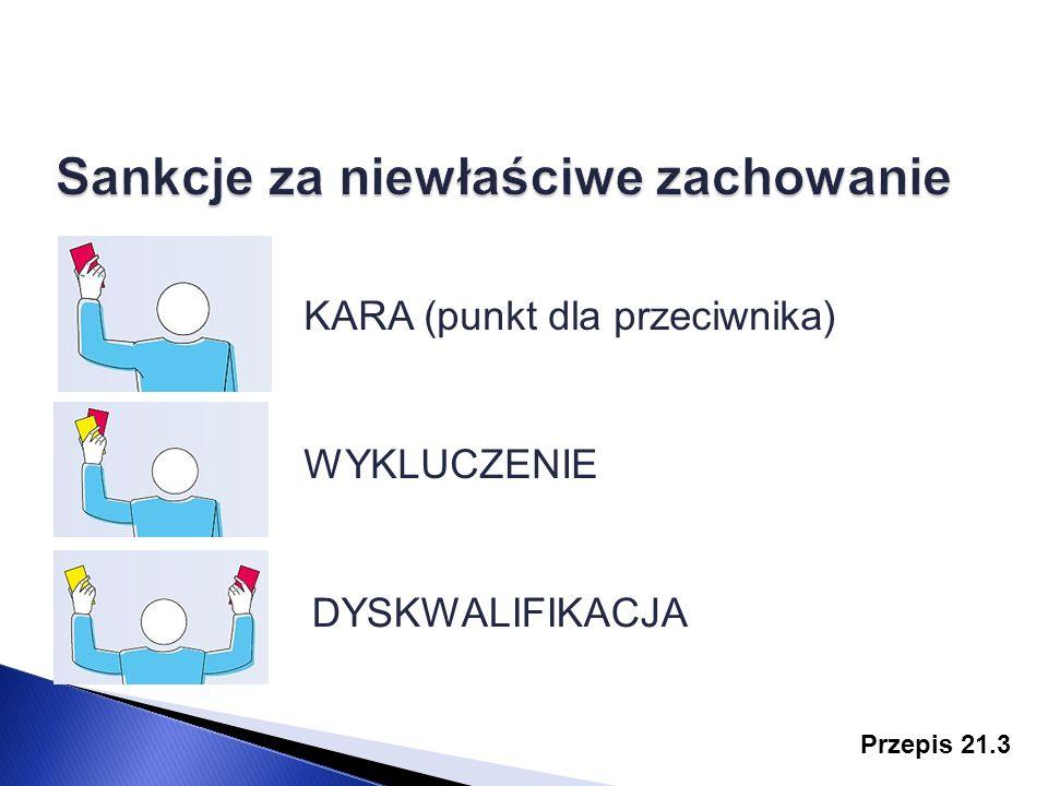 Przepis 21.3 KARA (punkt dla przeciwnika) WYKLUCZENIE DYSKWALIFIKACJA