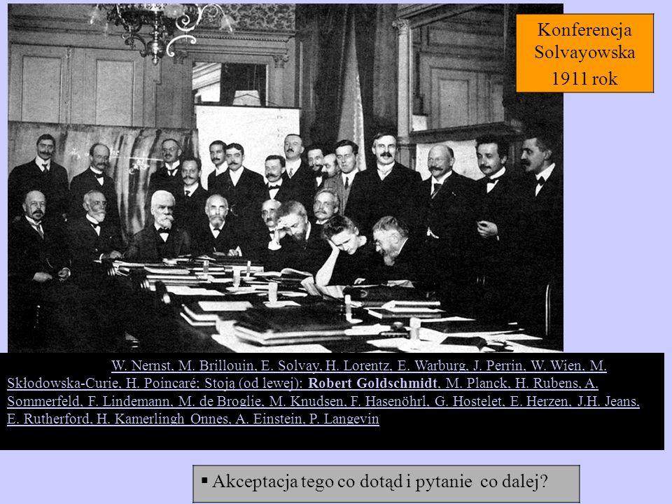 Akceptacja tego co dotąd i pytanie co dalej? iedzą (od lewej): W. Nernst, M. Brillouin, E. Solvay, H. Lorentz, E. Warburg, J. Perrin, W. Wien, M. Skło
