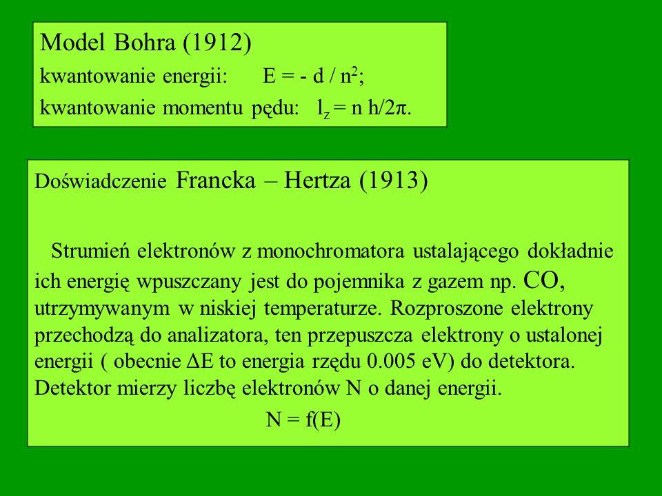 Model Bohra (1912) kwantowanie energii: E = - d / n 2 ; kwantowanie momentu pędu: l z = n h/2π. Doświadczenie Francka – Hertza (1913) Strumień elektro