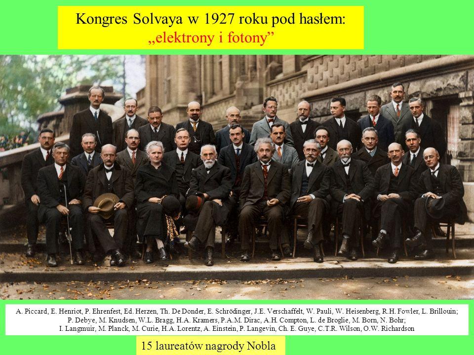 Kongres Solvaya w 1927 roku pod hasłem: elektrony i fotony A. Piccard, E. Henriot, P. Ehrenfest, Ed. Herzen, Th. De Donder, E. Schrödinger, J.E. Versc