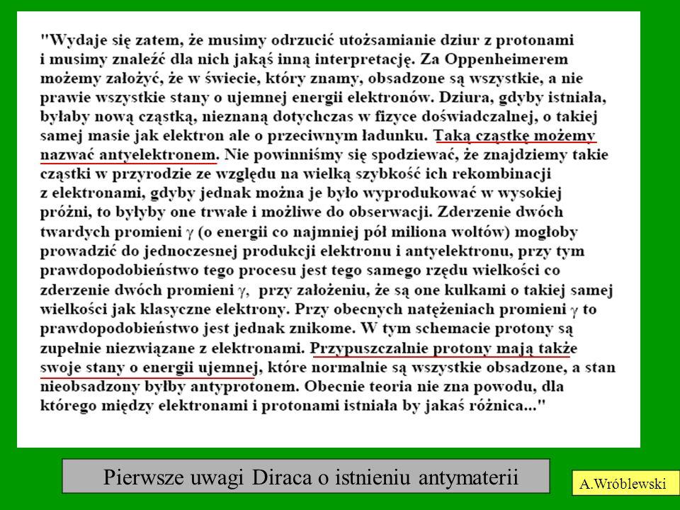Pierwsze uwagi Diraca o istnieniu antymaterii A.Wróblewski