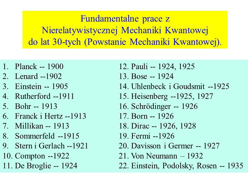 1.Planck -- 1900 2.Lenard --1902 3.Einstein -- 1905 4.Rutherford --1911 5.Bohr -- 1913 6.Franck i Hertz --1913 7.Millikan -- 1913 8.Sommerfeld --1915