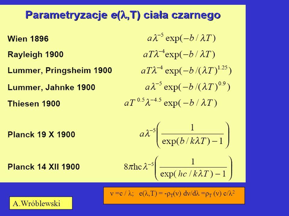 ν =c / λ; e(λ,T) = -ρ T (ν) dν/dλ =ρ T (ν) c/λ 2 A.Wróblewski
