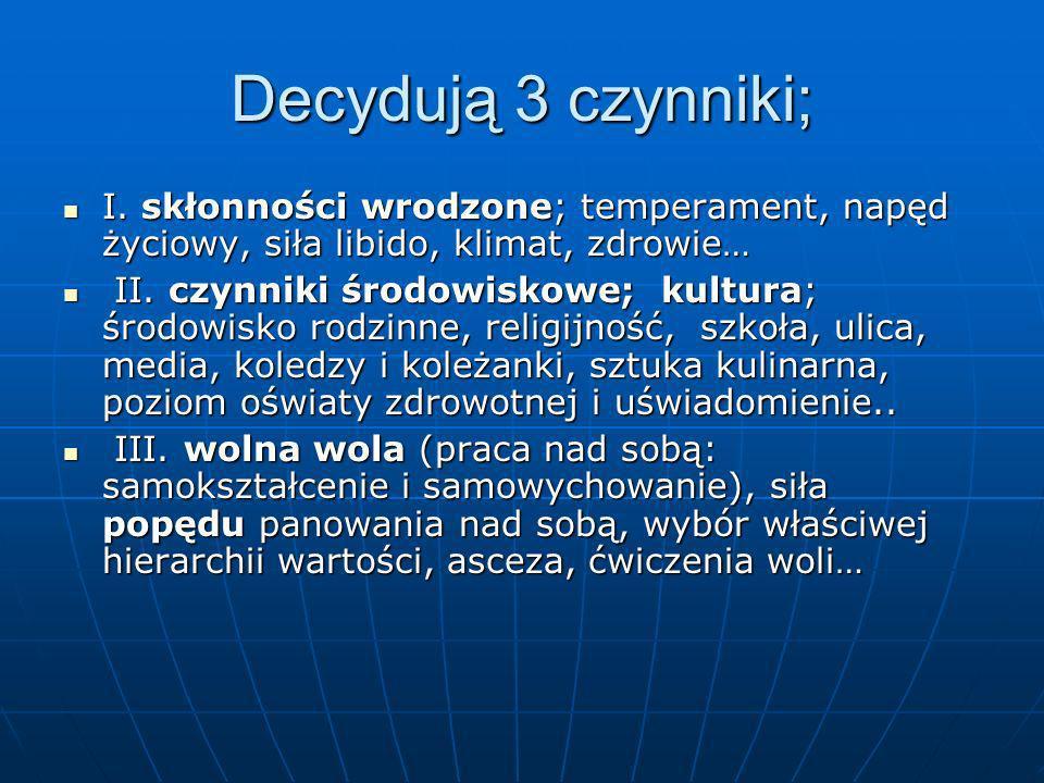 Decydują 3 czynniki; I. skłonności wrodzone; temperament, napęd życiowy, siła libido, klimat, zdrowie… I. skłonności wrodzone; temperament, napęd życi