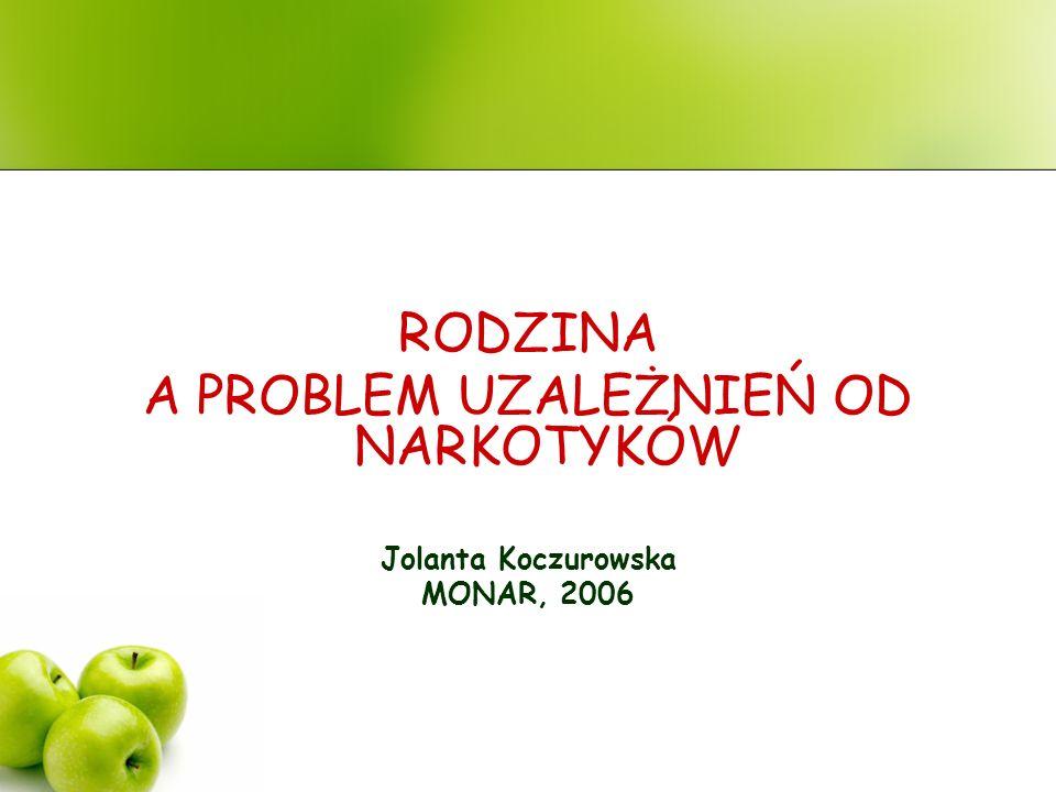 RODZINA A PROBLEM UZALEŻNIEŃ OD NARKOTYKÓW Jolanta Koczurowska MONAR, 2006