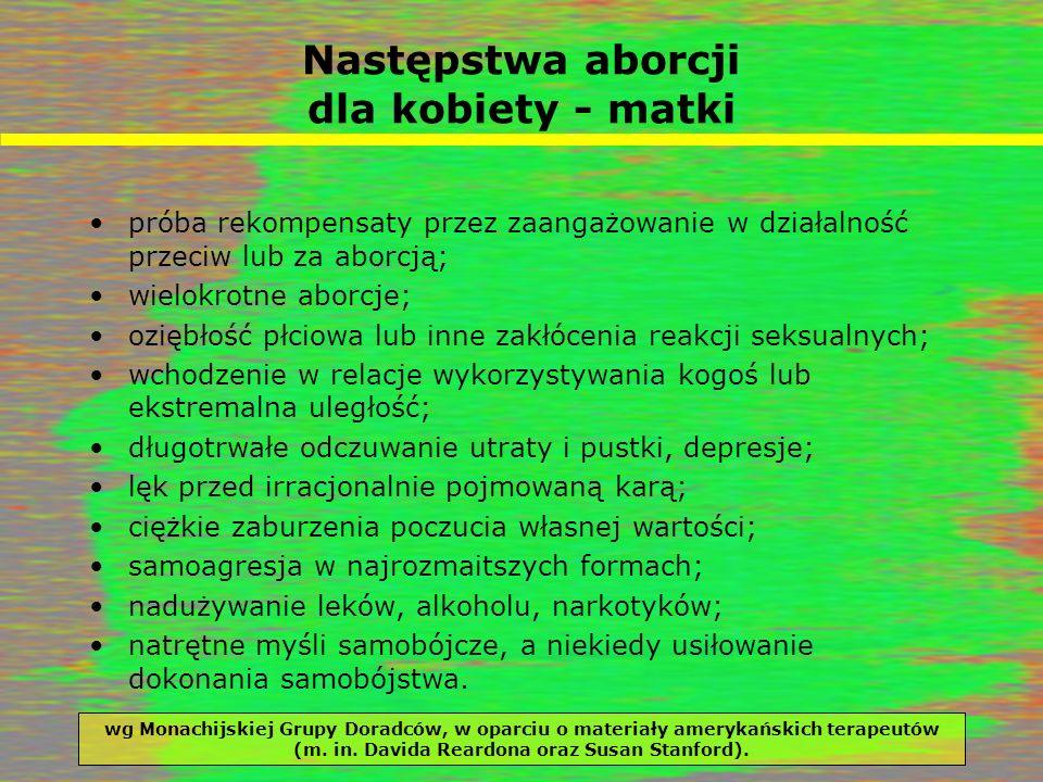 Następstwa aborcji dla kobiety - matki próba rekompensaty przez zaangażowanie w działalność przeciw lub za aborcją; wielokrotne aborcje; oziębłość płc