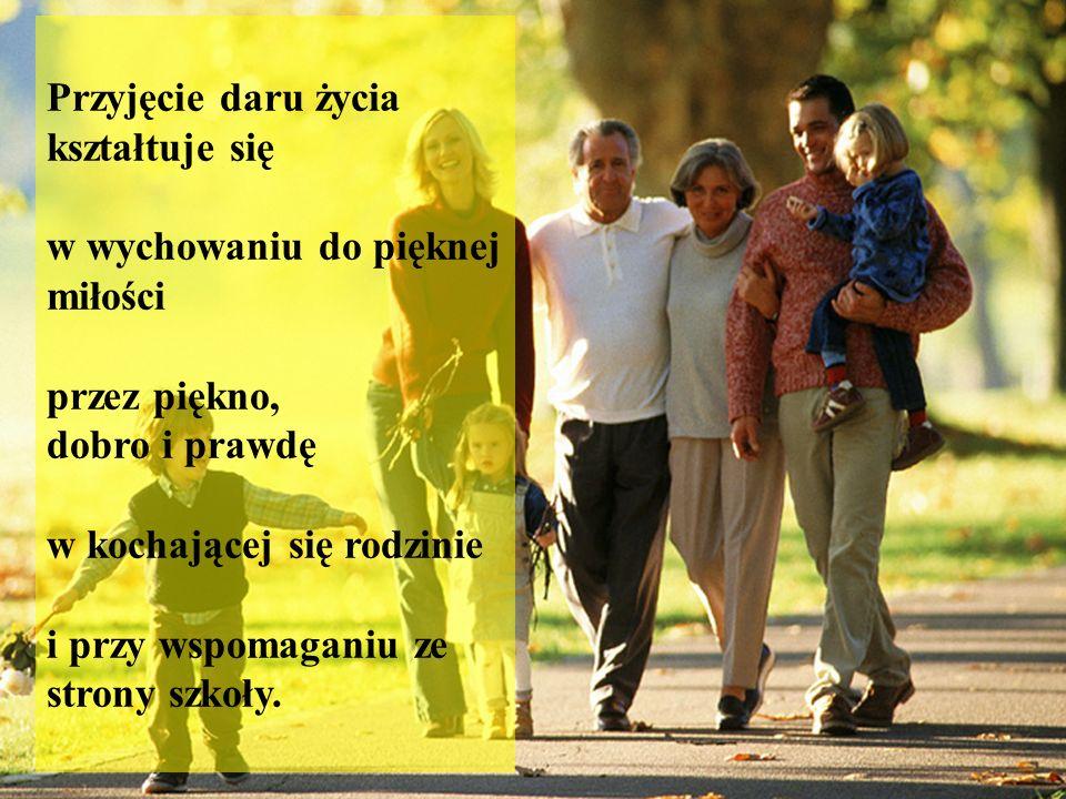 Przyjęcie daru życia kształtuje się w wychowaniu do pięknej miłości przez piękno, dobro i prawdę w kochającej się rodzinie i przy wspomaganiu ze stron