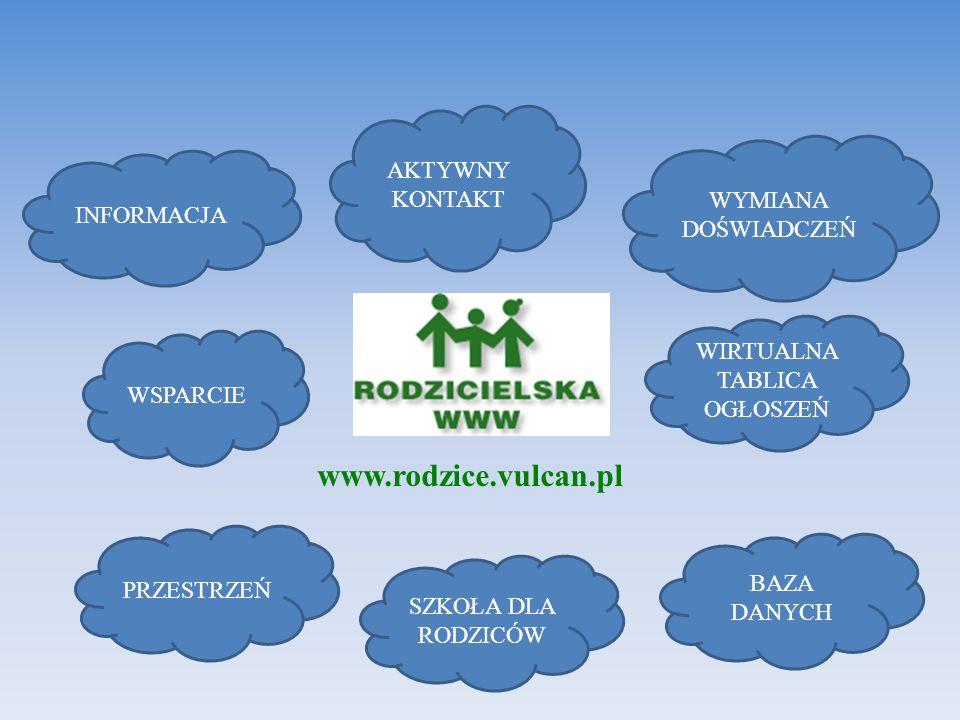 www.rodzice.vulcan.pl INFORMACJA WSPARCIE AKTYWNY KONTAKT WYMIANA DOŚWIADCZEŃ PRZESTRZEŃ WIRTUALNA TABLICA OGŁOSZEŃ SZKOŁA DLA RODZICÓW BAZA DANYCH
