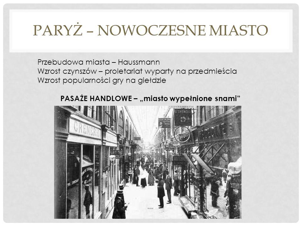 PARYŻ – NOWOCZESNE MIASTO Przebudowa miasta – Haussmann Wzrost czynszów – proletariat wyparty na przedmieścia Wzrost popularności gry na giełdzie PASA