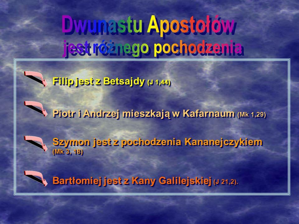 Filip jest z Betsajdy (J 1,44) Piotr i Andrzej mieszkają w Kafarnaum (Mk 1,29) Szymon jest z pochodzenia Kananejczykiem (Mk 3, 18) Bartłomiej jest z Kany Galilejskiej (J 21,2).