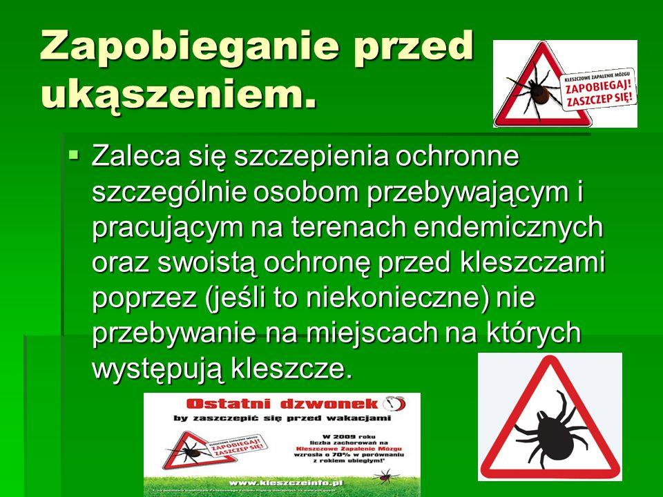 Zapobieganie przed ukąszeniem. Zaleca się szczepienia ochronne szczególnie osobom przebywającym i pracującym na terenach endemicznych oraz swoistą och