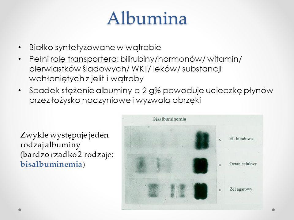 Albumina Białko syntetyzowane w wątrobie Pełni rolę transportera: bilirubiny/hormonów/ witamin/ pierwiastków śladowych/ WKT/ leków/ substancji wchłoni