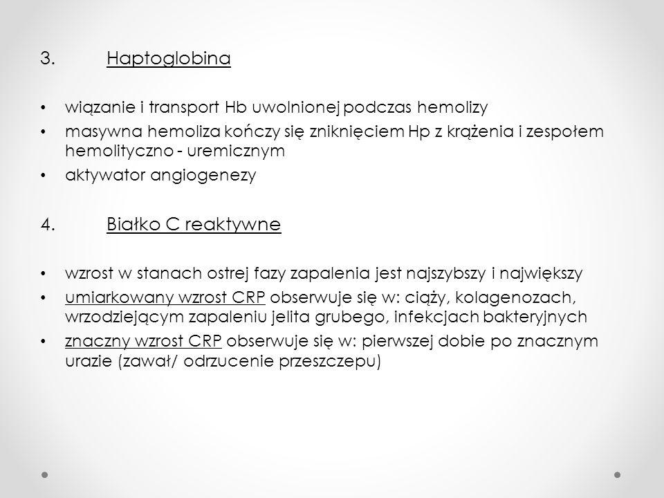 3. Haptoglobina wiązanie i transport Hb uwolnionej podczas hemolizy masywna hemoliza kończy się zniknięciem Hp z krążenia i zespołem hemolityczno - ur