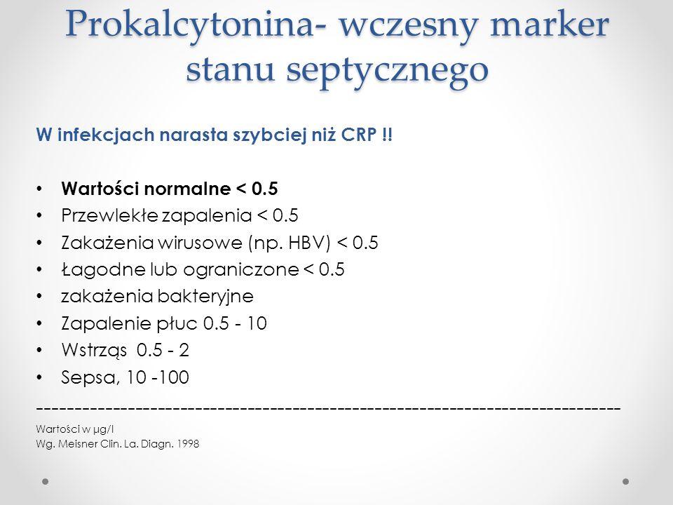 Prokalcytonina- wczesny marker stanu septycznego W infekcjach narasta szybciej niż CRP !! Wartości normalne < 0.5 Przewlekłe zapalenia < 0.5 Zakażenia