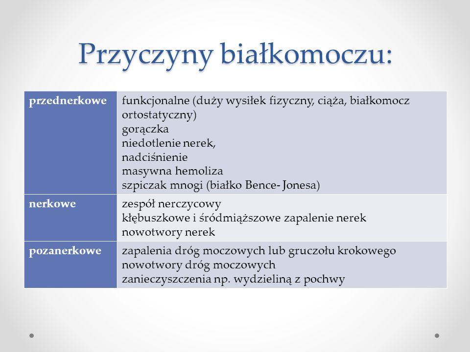 Przyczyny białkomoczu: przednerkowefunkcjonalne (duży wysiłek fizyczny, ciąża, białkomocz ortostatyczny) gorączka niedotlenie nerek, nadciśnienie masy