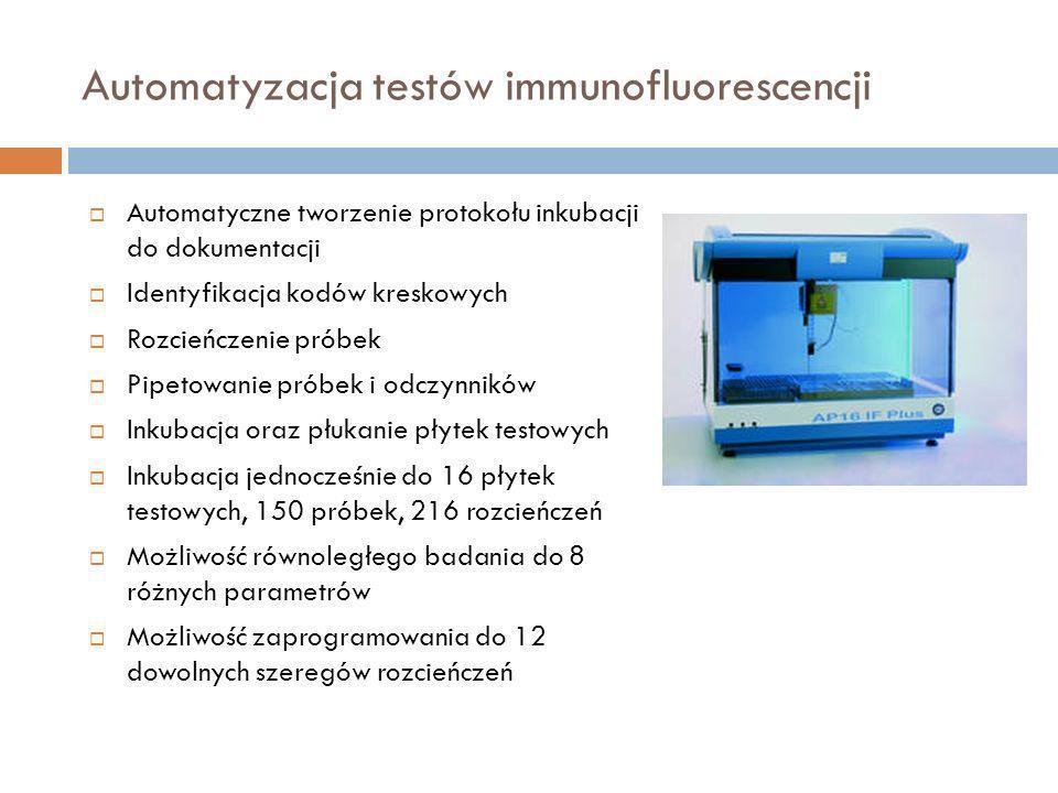 Automatyzacja testów immunofluorescencji Automatyczne tworzenie protokołu inkubacji do dokumentacji Identyfikacja kodów kreskowych Rozcieńczenie próbe