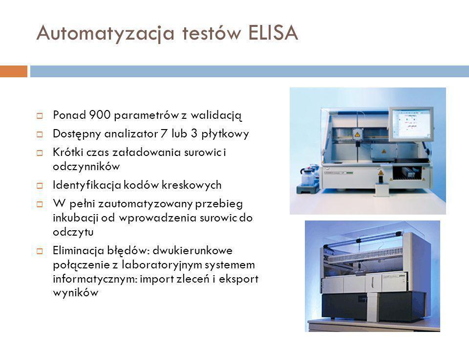 Automatyzacja testów ELISA Ponad 900 parametrów z walidacją Dostępny analizator 7 lub 3 płytkowy Krótki czas załadowania surowic i odczynników Identyf