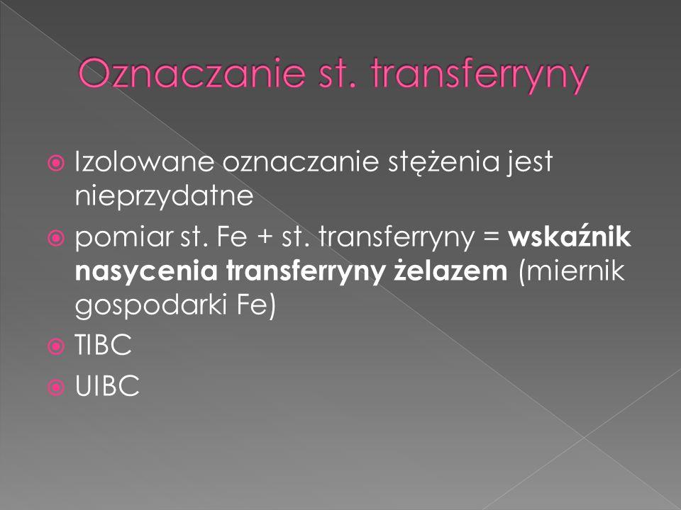 Izolowane oznaczanie stężenia jest nieprzydatne pomiar st. Fe + st. transferryny = wskaźnik nasycenia transferryny żelazem (miernik gospodarki Fe) TIB