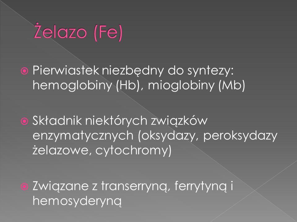 Niedobór żelaza (niedokrwistości) Nadmiar żelaza (hemochromatoza)