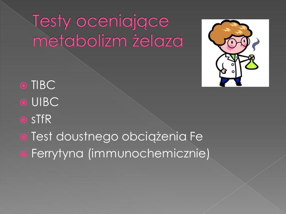 TIBC UIBC sTfR Test doustnego obciążenia Fe Ferrytyna (immunochemicznie)