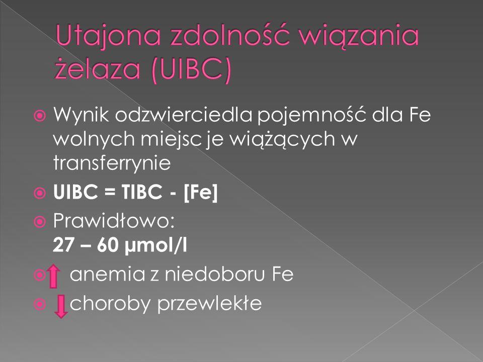 Wynik odzwierciedla pojemność dla Fe wolnych miejsc je wiążących w transferrynie UIBC = TIBC - [Fe] Prawidłowo: 27 – 60 µmol/l anemia z niedoboru Fe c