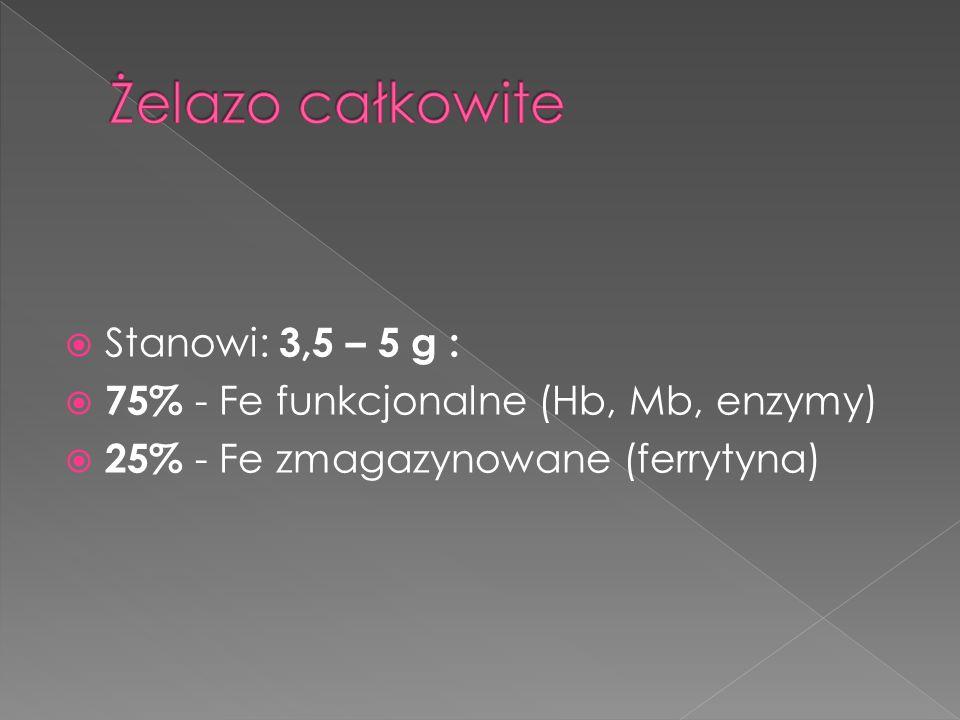 Stanowi: 3,5 – 5 g : 75% - Fe funkcjonalne (Hb, Mb, enzymy) 25% - Fe zmagazynowane (ferrytyna)