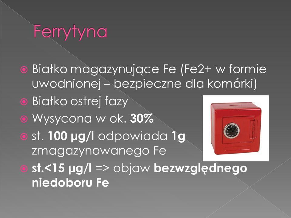 Białko magazynujące Fe (Fe2+ w formie uwodnionej – bezpieczne dla komórki) Białko ostrej fazy Wysycona w ok. 30% st. 100 µg/l odpowiada 1g zmagazynowa