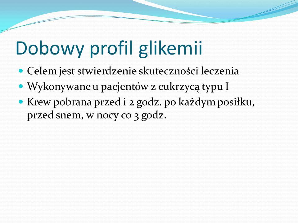 Dobowy profil glikemii Celem jest stwierdzenie skuteczności leczenia Wykonywane u pacjentów z cukrzycą typu I Krew pobrana przed i 2 godz.