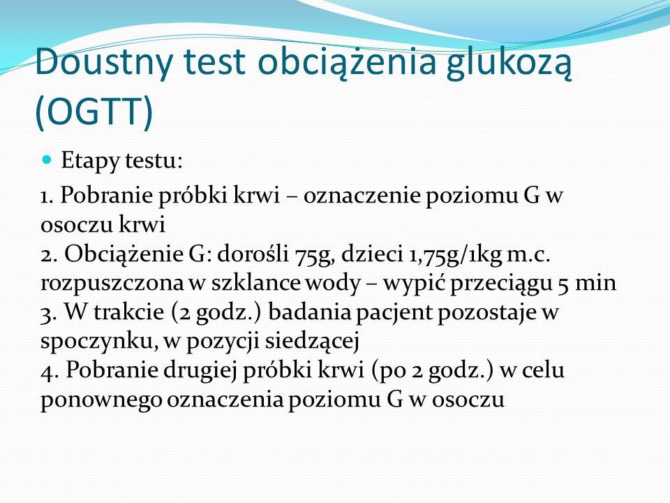 Doustny test obciążenia glukozą (OGTT) Etapy testu: 1.