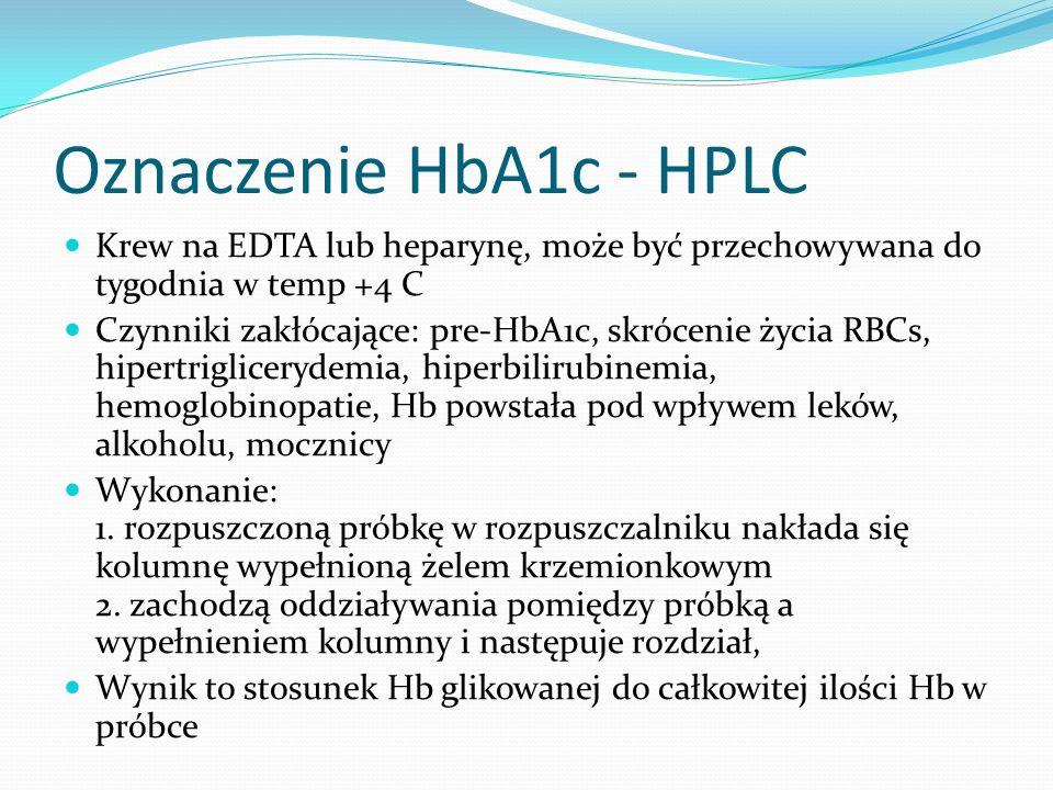 Oznaczenie HbA1c - HPLC Krew na EDTA lub heparynę, może być przechowywana do tygodnia w temp +4 C Czynniki zakłócające: pre-HbA1c, skrócenie życia RBCs, hipertriglicerydemia, hiperbilirubinemia, hemoglobinopatie, Hb powstała pod wpływem leków, alkoholu, mocznicy Wykonanie: 1.