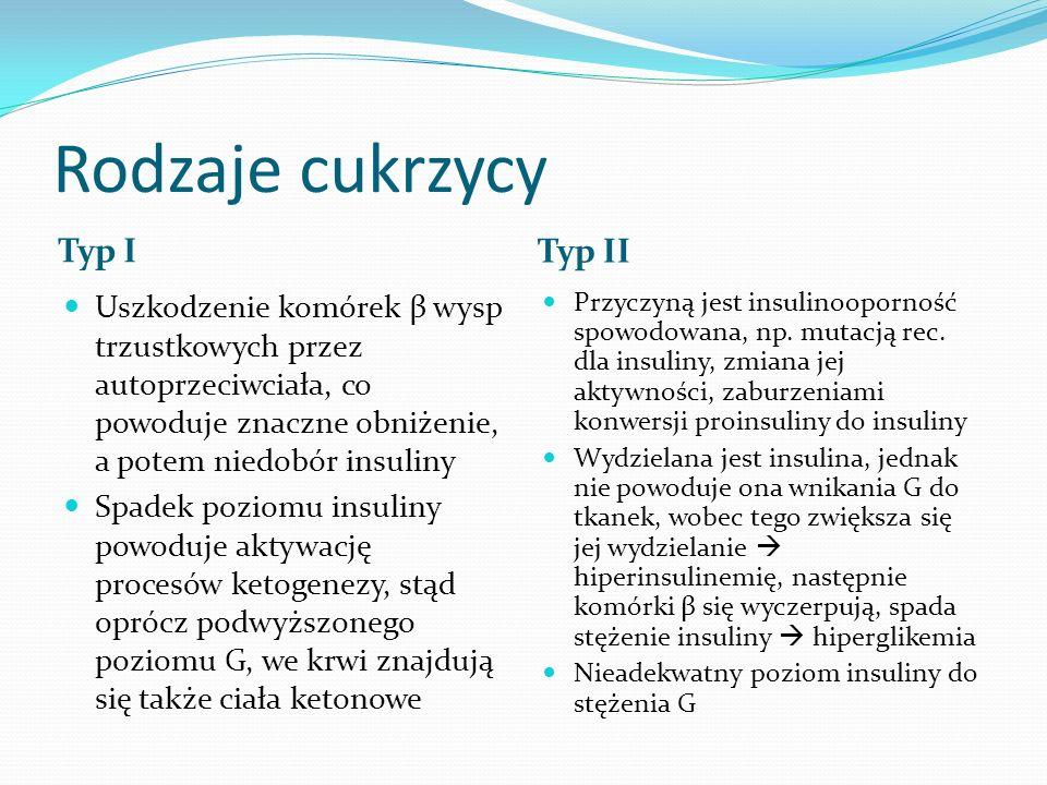 Rodzaje cukrzycy Typ I Typ II Uszkodzenie komórek β wysp trzustkowych przez autoprzeciwciała, co powoduje znaczne obniżenie, a potem niedobór insuliny Spadek poziomu insuliny powoduje aktywację procesów ketogenezy, stąd oprócz podwyższonego poziomu G, we krwi znajdują się także ciała ketonowe Przyczyną jest insulinooporność spowodowana, np.