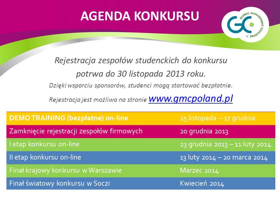 Rejestracja zespołów studenckich do konkursu potrwa do 30 listopada 2013 roku. Dzięki wsparciu sponsorów, studenci mogą startować bezpłatnie. Rejestra
