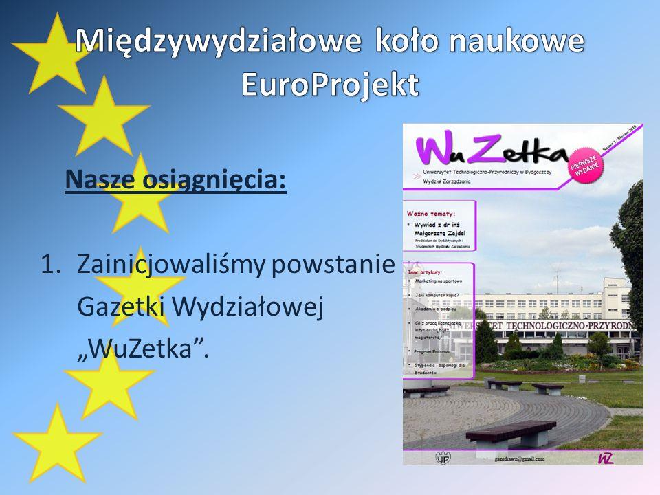 Nasze osiągnięcia: 1.Zainicjowaliśmy powstanie Gazetki Wydziałowej WuZetka.