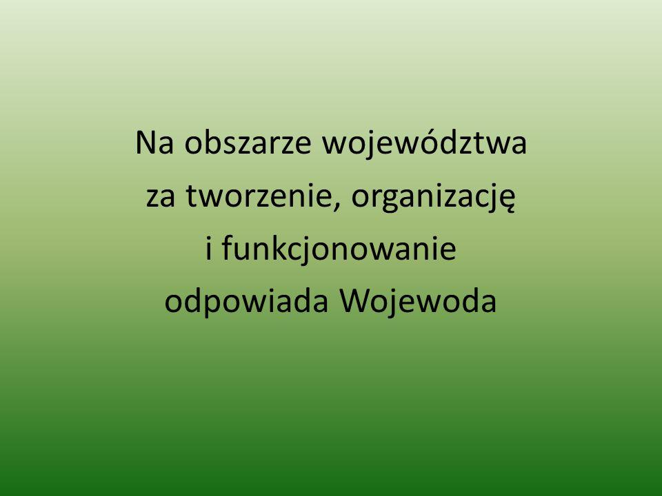 Na obszarze województwa za tworzenie, organizację i funkcjonowanie odpowiada Wojewoda