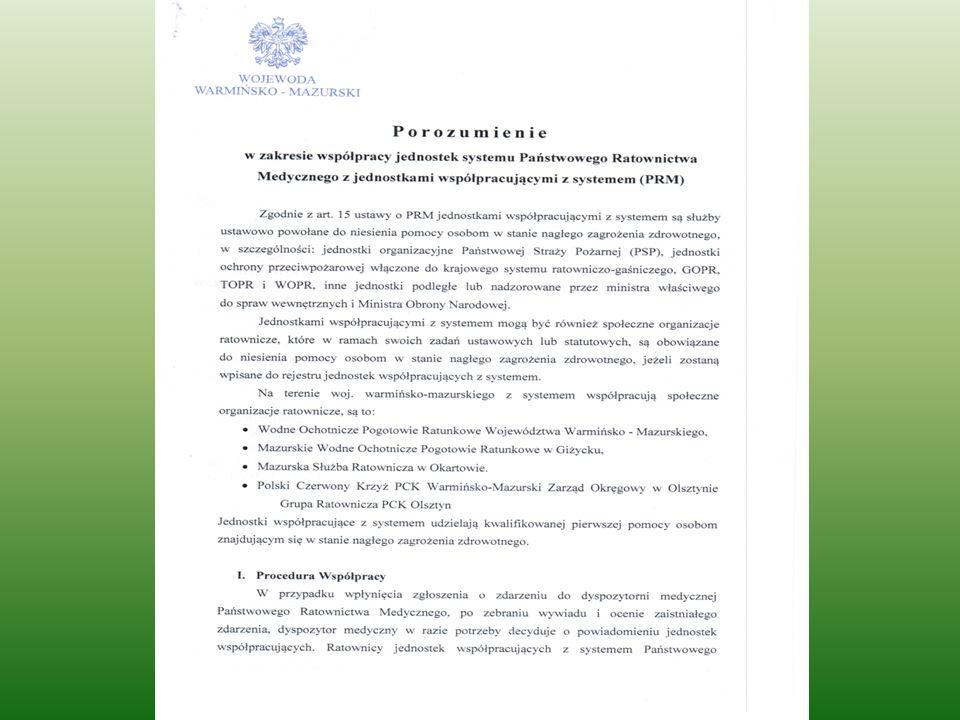W pozostałych powiatach numer alarmowy 112 na mocy porozumień zawartych pomiędzy Wojewodą Warmińsko-Mazurskim a Komendantami Wojewódzkimi PSP i Policji odbierany jest przez dyspozytorów PSP oraz Policji (stacjonarne i kom.)