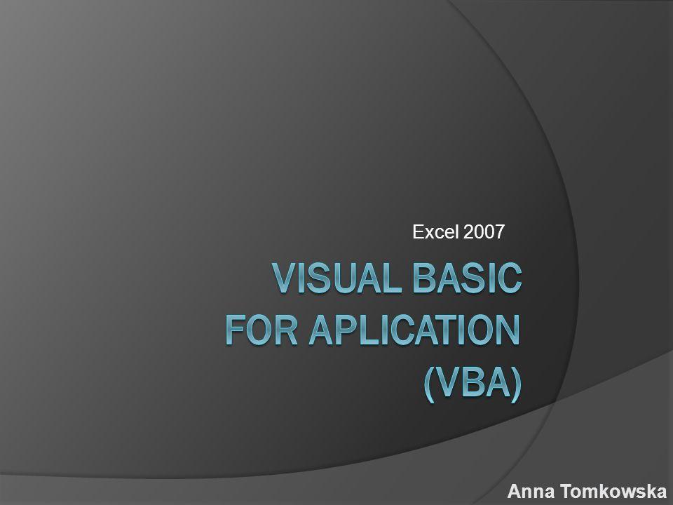 Excel 2007 Anna Tomkowska