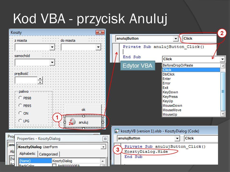 Kod VBA - przycisk Anuluj 2x 2 Edytor VBA 3 1