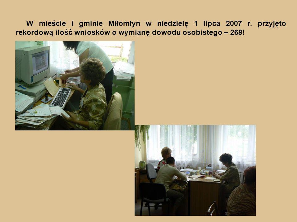 W mieście i gminie Miłomłyn w niedzielę 1 lipca 2007 r.