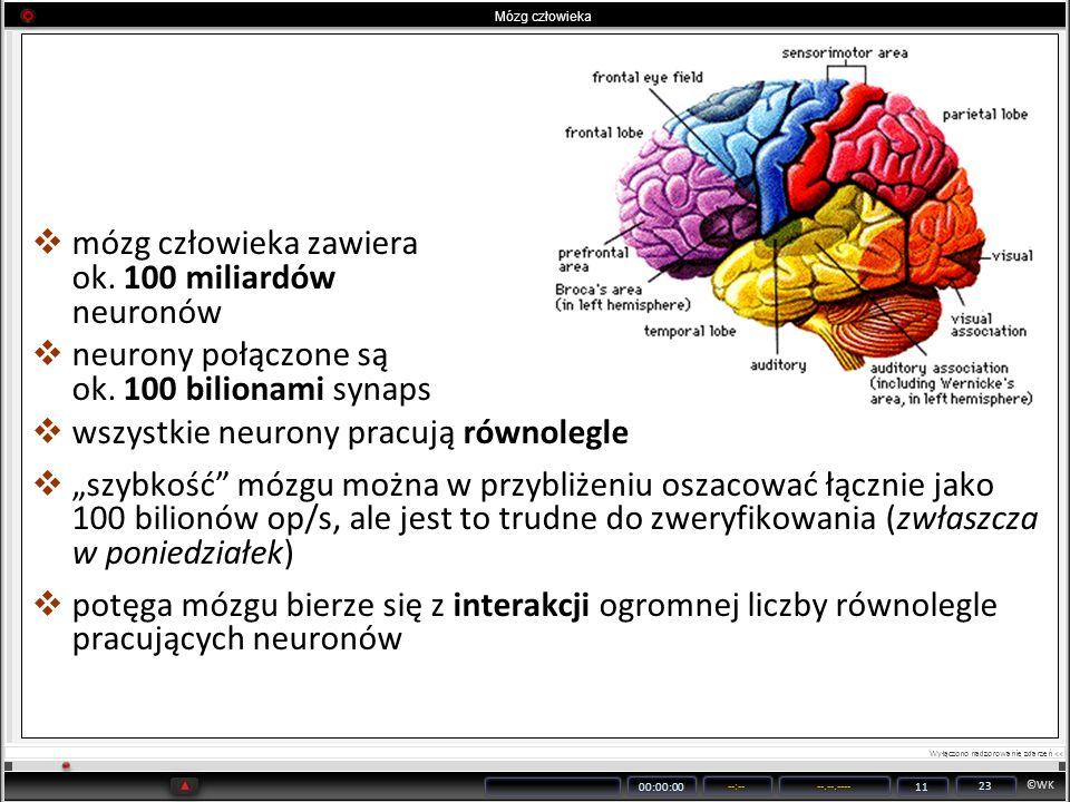 ©WK 00:00:00 --:----.--.---- 11 23 mózg człowieka zawiera ok. 100 miliardów neuronów neurony połączone są ok. 100 bilionami synaps wszystkie neurony p