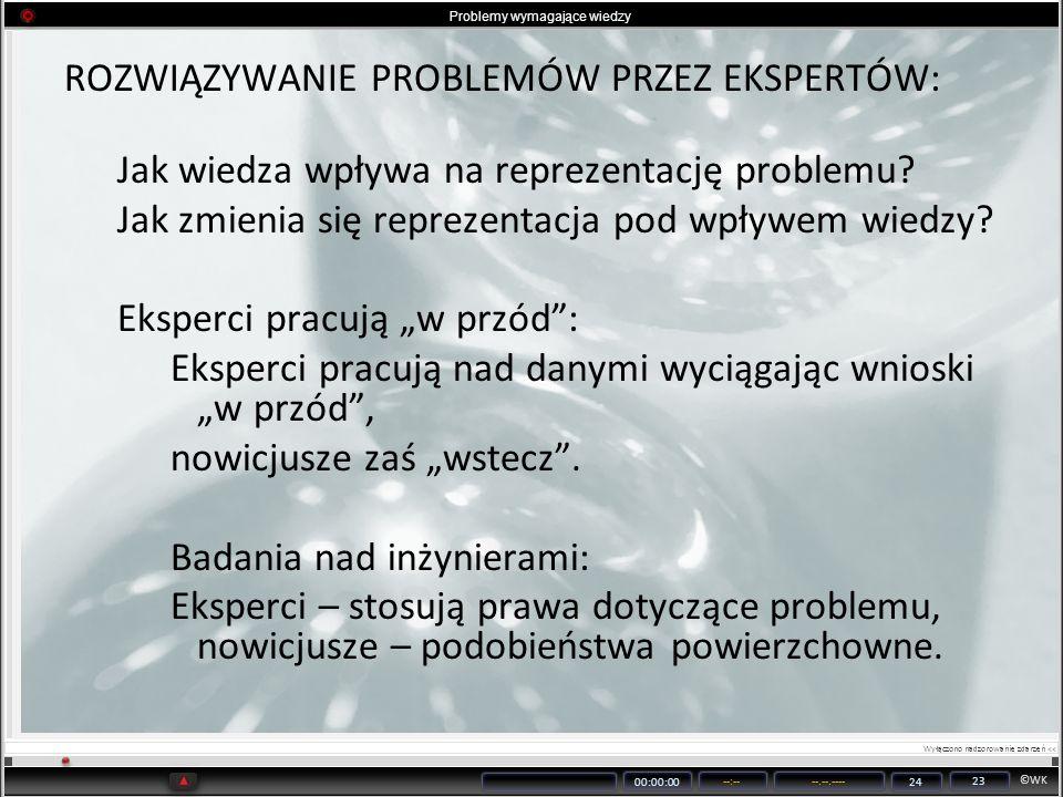 ©WK 00:00:00 --:----.--.---- 24 23 Problemy wymagające wiedzy ROZWIĄZYWANIE PROBLEMÓW PRZEZ EKSPERTÓW: Jak wiedza wpływa na reprezentację problemu? Ja