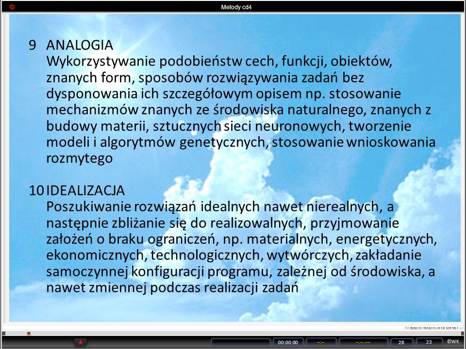 ©WK 00:00:00 --:----.--.---- 28 23 Metody cd4 9ANALOGIA Wykorzystywanie podobieństw cech, funkcji, obiektów, znanych form, sposobów rozwiązywania zada